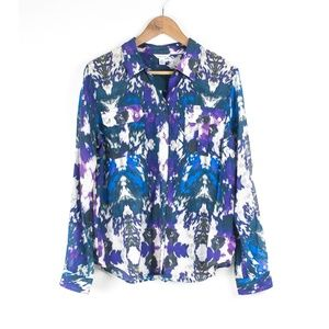 Calvin Klein Silk Blend Colorful Patterned Shirt